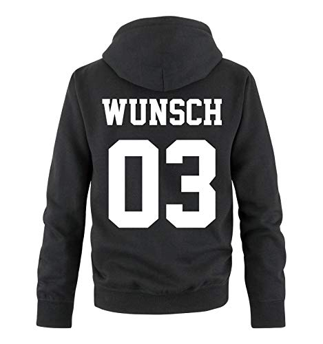 Comedy Shirts - Wunsch - Herren Hoodie - Schwarz / Weiss - Gr. XL