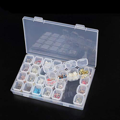 Bodhi2000 Boîte de rangement amovible en plastique transparent avec 28 emplacements pour nail art, strass, bijoux, diamants, boucles d'oreilles, perles