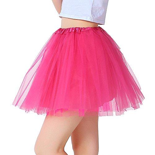 iLoveCos 80er Jahre Neon Tütü/Tutu/Tüllrock/Unterrock Petticoat Rüschen Geschichteten Pink Regenbogen Rot Rock Kleid Kostüm 1980er Jahre Neon Fancy Dress Outfit Zubehör für Kinder (pink)