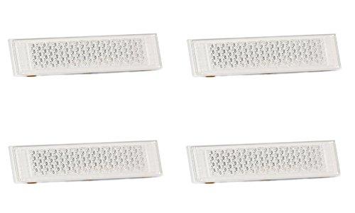 Rückstrahler Reflektor Katzenaugen selbstklebend Weiß rechteckig schmal Anhänger