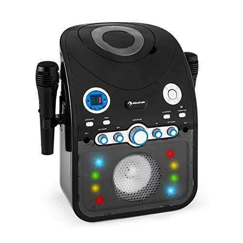 auna StarMaker - Equipo de Karaoke, Reproductor de CD, Interfaz Bluetooth, Puerto USB, Entrada AUX, Efecto iluminación LED Multicolor, 2X micrófonos, con subtítulos, Negro Grafito