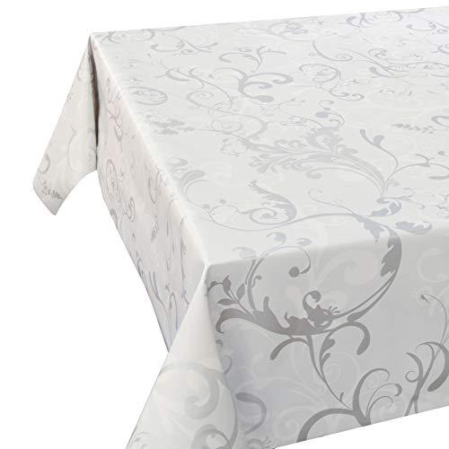 DecoHomeTextil Wachstuch LFGB Milano Lux Weiss Breite & Länge wählbar abwaschbare Tischdecke Eckig 120 x 200 cm