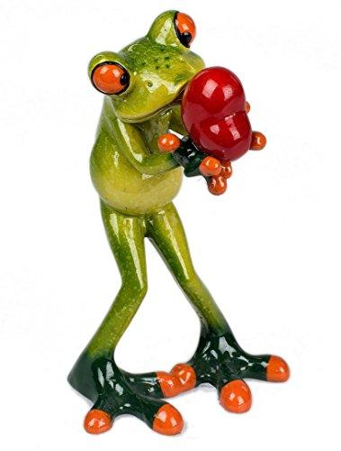Dekofigur verliebter Frosch mit Herz grün H. 14cm B. 7cm Poly Formano