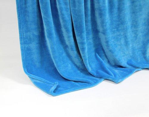 Feinste Tagesdecke Wohndecke Mikrofaserdecke Kuscheldecke, extra dick mit Silk/Cashmere Touch, ca. 150 x 200 cm, blau