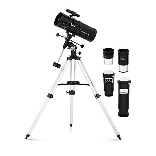 Uniprodo Uni_Telescope_11 Teleskop 1.400 mm Ø 150 mm Tripod-Stativ Barlowlinse Mondfilter Aufrichtlinse Okularauszug 1,25