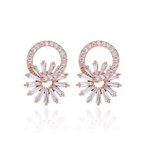 Yarmy - Pendientes de diamante con diseño de flor y hongos blancos