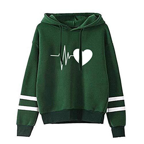 Dicomi Frauen Sweatshirt Casual Fashion Love Bedruckte Langarm Pullover Hoodie Zwei Linien T-Shirt Mantel Outwear Tops
