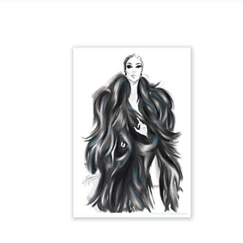 Mode Poster Planner Girl Print Mode Wall Art Canvas Schilderij Meisje in bontjas Foto Meisjes Kamer Decor-50x70cmx1pcs-Geen Frame