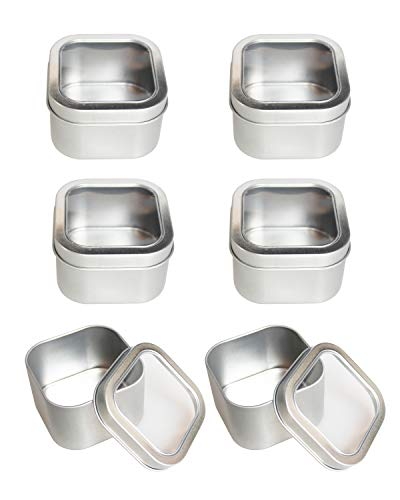 Empty 8-Ounce Capacity Square Silver Metal Tins with Clear Window for Candle Making Candies Gifts Treasures 6 Pack
