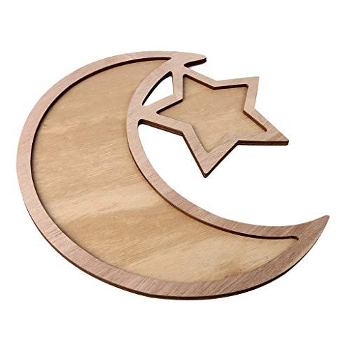 Milageto Bandeja de Madera Rústica con Creciente Y Estrella Eid/Ramadán para Servir Bocadillos