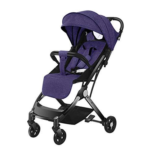 KHUY Fold Anti-Shock Stroller,Convenience Stroller, Lightweight Umbrella Stroller,Adjustable Oversized Canopy and More (Color : Purple)