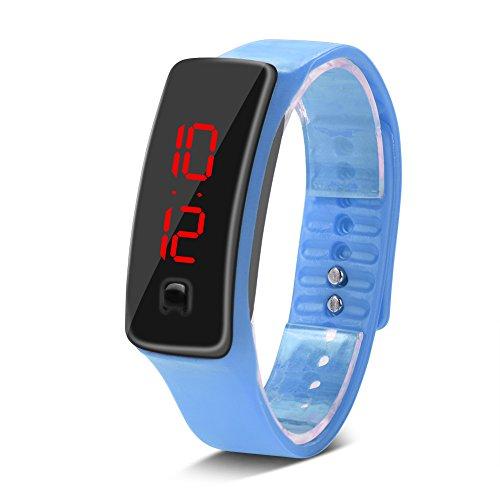 ZJchao Reloj de Pulsera Digital LED Correa de Silicona, Reloj Deportivo electrónico con Esfera de 12 Horas para Adolescentes, niños, niñas, niños(Azul)