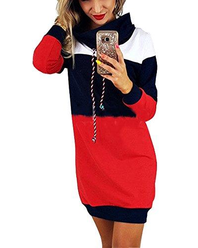 Minetom Donna Eleganti Manica Lunga Felpe Abito Corti Autunno Inverno Sciolto Pullover Camicia Tops Oversize Sweatshirt Mini Vestito Blu IT 38