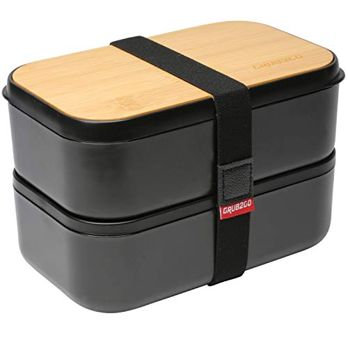 GRUB2GO Premium Bento Lunch Box (Large 68 Oz Capacity) | 2021 Model, 70% Bigger | Includes Bamboo Chopping Board Lid, Carry Bag, 2 Dividers, Utensils, Sauce Container