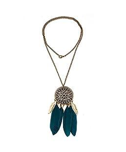 Bronze Vintage Longue Chaîne Collier Pendentif Feuille Plume - Bleu