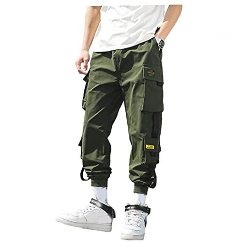 Tuimiyisou Uomini Cargo Pants Sport Pocket Pantaloni Pantaloni felpa Hiphop Punk Pantaloni Streetwear