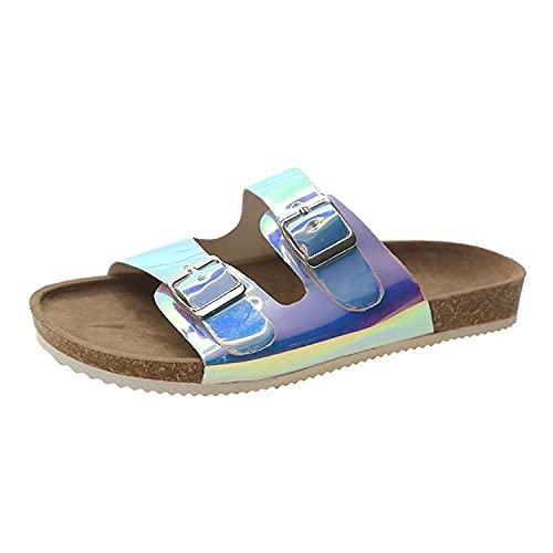 COQUI Slippers Mujer casa,Gran tamaño Nuevo Grueso Espeso Lentejuelas Zapatos de Mujer sandwalp Mujer softwood con Zapatillas de Playa-Plata_37