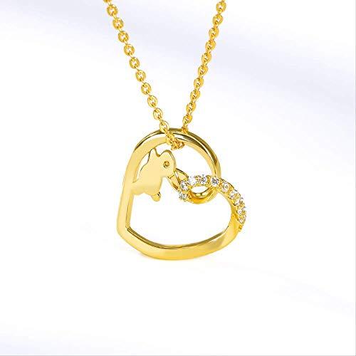 xtszlfj Collares románticos para Mujer, Pareja, Collares de Conejo en Forma de corazón, Regalo de Amor de Conejito Dorado, Gargantilla Bohemia, joyería de Boda