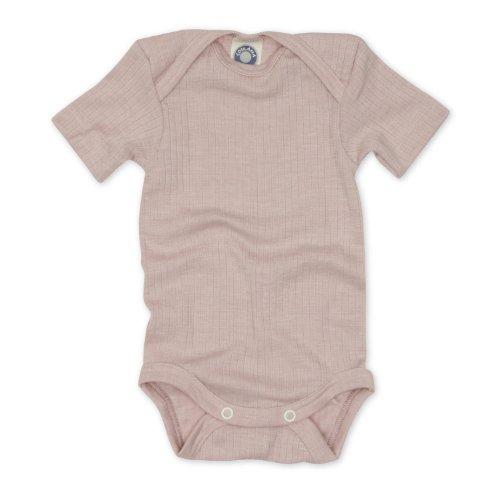 Cosilana kurzarm Baby Body, Größe 74/80, Farbe Pink meliert, Spezial Qualität 45% kbA Baumwolle, 35% kbT Wolle, 20% Seide