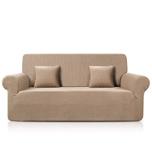 TAOCOCO Sofa Überwürfe Jacquard Sofabezug Elastische Stretch Spandex Couchbezug Sofahusse Sofa Abdeckung in Verschiedene Größe und Farbe (Sand, 3-sitzer(180-230cm))