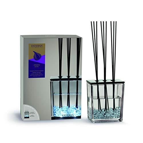 Esteban Bouquet Profumato Figue Noire Fico Nero Trittico GRande Formato Vaso in vetro + ricarica 500 ml + bacchettine rattan Novità