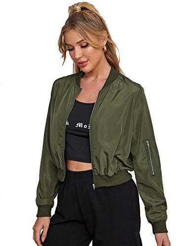 Romwe Women's Classic Solid Biker Jacket Zip up Crop Bomber Jacket Coat Army Green X-Large