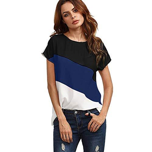 XIAOBAOZITXU dames kleurblok chiffon korte mouwen casual tuniek tops T shirt vrouwen T-shirt (Dark Blue)