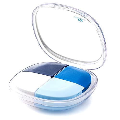 CICINIO Mini Caja de Píldora Pastilleros Portátiles con 4 Compartimentos,Organizador Impermeablesellada,Portable Organizador de la Medicina y Vitamina Caja de Redonda de Píldoras de Viaje-Azul ⭐
