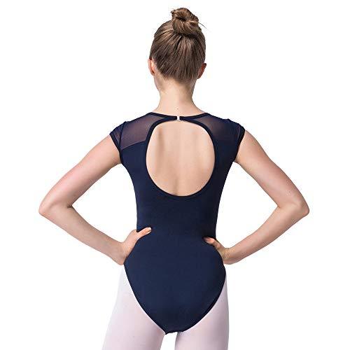 Bezioner Ballett Trikot Turnanzug Rückenfrei Gymnastikanzug Mesh Tanzbody Tanztrikot für Mädchen und Damen Marineblau S