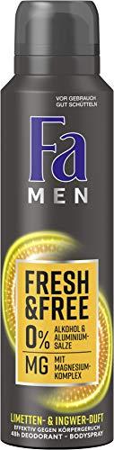 FA Men Deospray Fresh & Free Limetten- & Ingwer-Duft ohne Aluminium und Alkohol, 6er Pack (6 x 150 ml)