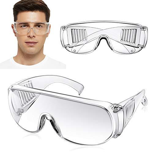 【2 pares】Gafas protectoras,Protección Antivaho y UV, Gafas Transparentes a Prueba de Polvo, Lentes Policarbonatos,para Construcción, Mejoras Para el Hogar, Soldadura, experimento de quimica.