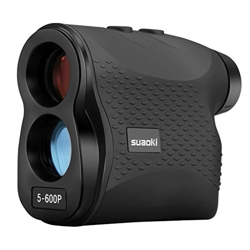 SUAOKI - 600m Telémetro de Golf, Telémetro Prismático Profesional Monocular Medidor de Distancia Larga, 6X Aumento,con Bloqueo de bandera, Distancia, Medición de Velocidad, Negro