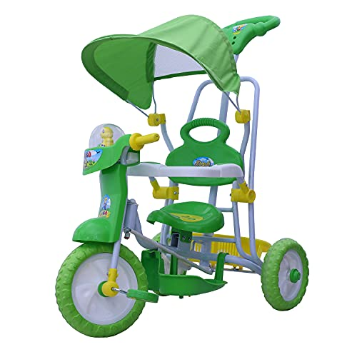 Dash Vega Kids Musical Cartoon Tricycle with Rear Storage Basket, Foot Rest, Back Support, Adjustable Canopy & Parent Control Push Handle (Green)