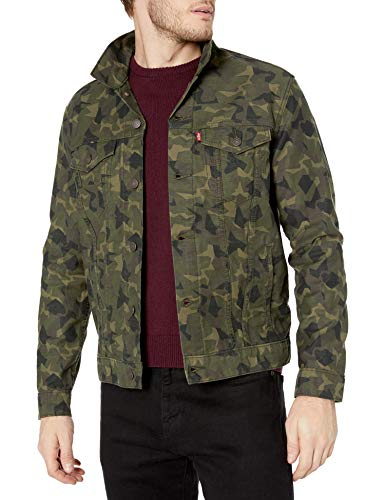 Levi's Men's Trucker Jacket Outerwear, -Andrew Camo Olive Night, S