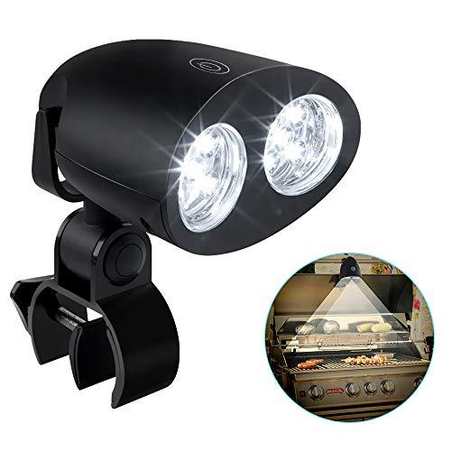 CestMall LED BBQ Grill-Lampe 360 Grad schwenkbar Grill-Licht Grill-Leuchte Schraub-Befestigung Touch-Sensor Schalter Grill-Beleuchtung Light für Batterie betrieben Camping Fischen Kochen Outdoor