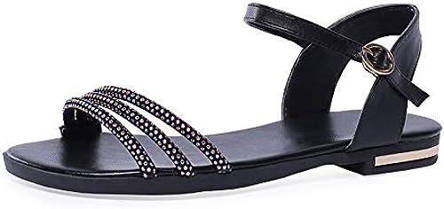 HommesGLTX Talon Aiguille Talons Hauts Sandales 2019 Grande Taille 46 Femmes Sandales Chaussures en Cuir Véritable Cristal Boucle D'été Chaussures Confortables Falt Décontracté Chaussures Femme