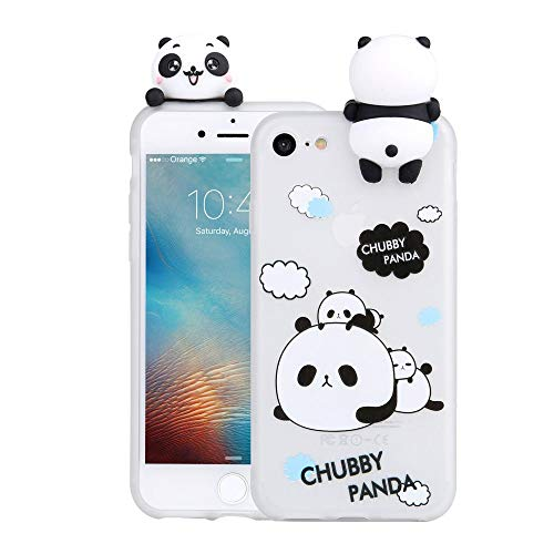 LAPOPNUT 3D Cartoon Panda Case for Apple iPhone 5 5S SE Case Soft Back Cover Candy Colour Cute Bear Design Slim Flexible Protective Case Cover Gel Rubber Bumper for Girls, Happy Pandas
