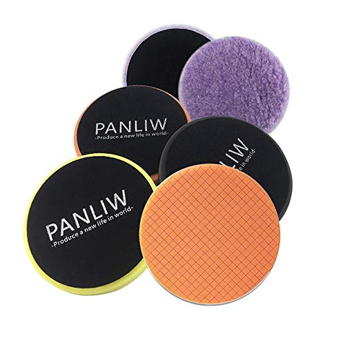 PANLIW 4Pcs 6 inch Polishing Pads 6 inch Buffing Pads DA Car Polishing Pad Kit for Car Polisher car Detailing Finishing Buffer pad Polish Wool Pads Hook and Loop Grid Drill Sponge Foam Buffing Pads