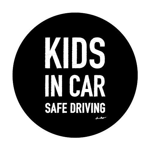 モノクロ 黒【KIDS IN CAR】車マグネットステッカー キッズインカー 丸型15cm