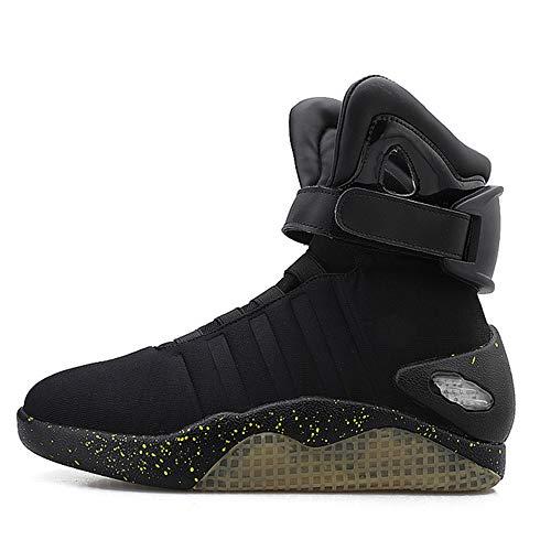 JXILY Zapatos LED Zapatos Ligeros de Carga Zapatos Que Destellan del LED Zapatos Ligeros de Carga por USB Zapatos de los Hombres Superiores Altos Zapatos Casuales,Negro,42