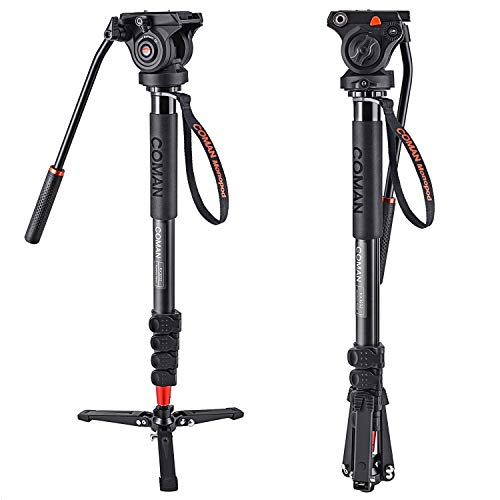 Monopod, COMAN KX3232 73.2 inch Professional Monopod Tripod Lightweight Aluminum Telescopic Camera Monopod with Pan Tilt Fluid Head and Tripod Base for DSLR Video Cameras