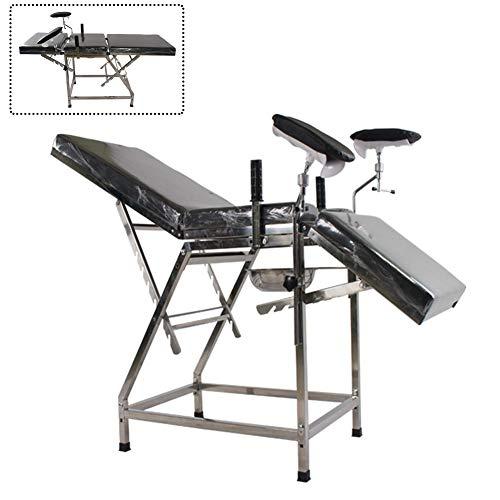 DZWJ Gynäkologischer Untersuchungsstuhl/Bett, gynäkologisches Waschbett aus Edelstahl, Entbindungsstuhl, chirurgischer Geburtsstuhl-Schwarz