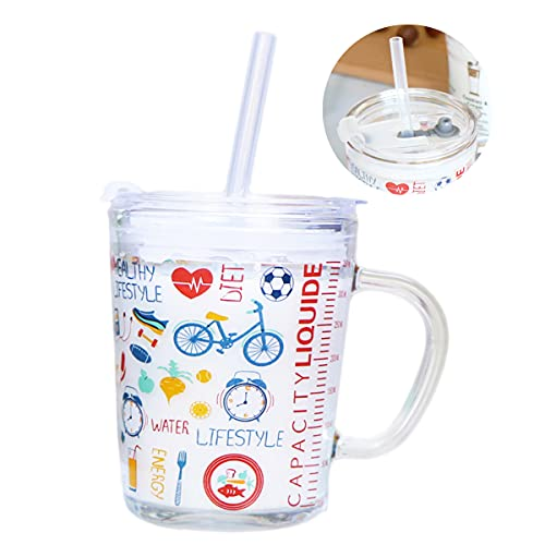 WEEYEE Tazza per Latte per Bambini,Tazza Trasparente per Bambini,Tazza per Latte in Vetro per la Colazione Creativa Carina per Bambini,Tazza per Bere Divertente (Graffiti)