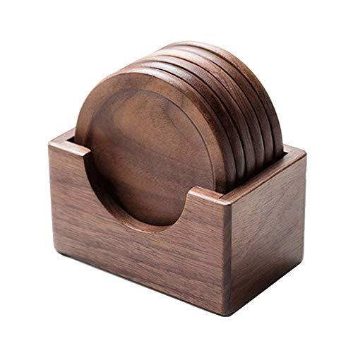 Juego de 6 salvamanteles redondos de madera para comedor, cafeteras, etc.