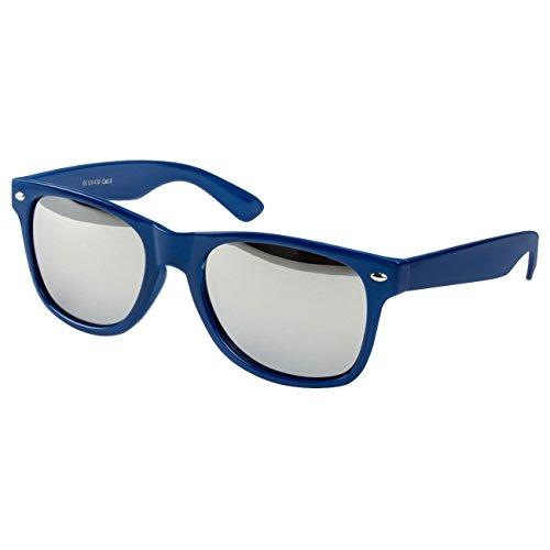 Ciffre Sonnenbrille Nerdbrille Nerd Retro Look Brille Pilotenbrille Vintage Look - ca. 80 verschiedene Modelle Dunkel Blau Spiegel Glas