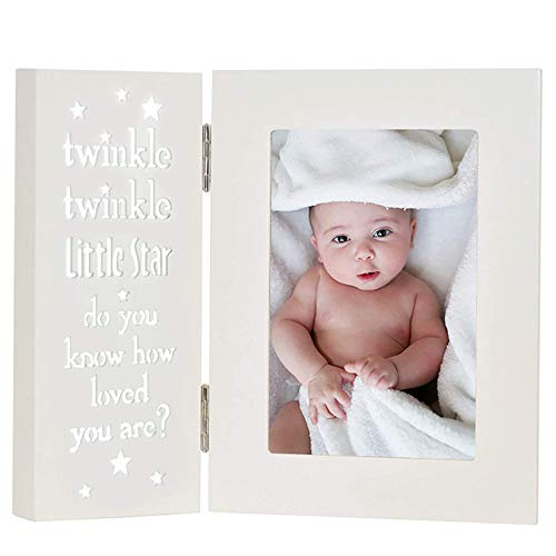 YEASL Twinkle Twinkle Little Star Baby Picture Frame-4x6 Baby Keepsake Frame White Tabletop Photo Frame for Baptism