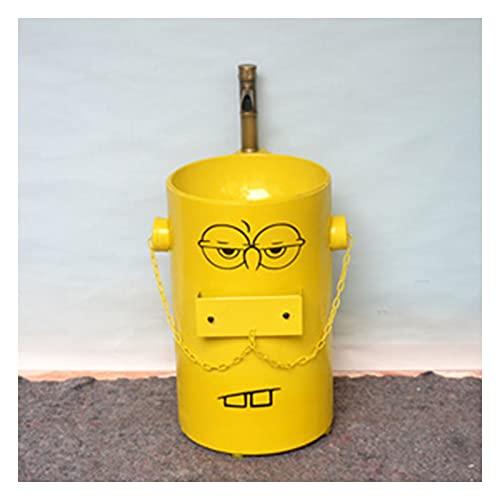MBY Niños Fregadero De Pedestal Pequeno Hierro Forjado, Creativo Lavabo con Pie Estilo Industrial, Lavamanos Bano Kindergarten Dibujos Animados con Grifo(Size:Lavabo Infantil,Color:Amarillo)