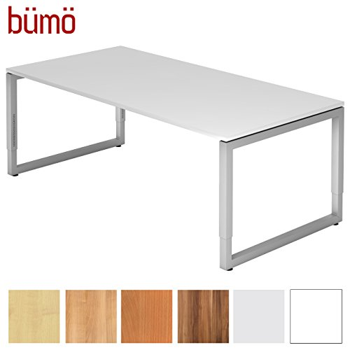 bümö® massiver Schreibtisch höhenverstellbar | Bürotisch extrem massiv & stabil | Büroschreibtisch Tisch für Büro in 4 Größen & 6 Dekoren (Weiß, 200 x 100 cm)