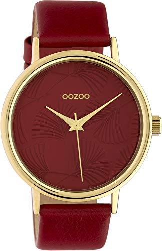 Oozoo Damenuhr mit Lederband 42 MM Colours of Oozoo Ginkgoblatt Zifferblatt Unicolor Rot C10393