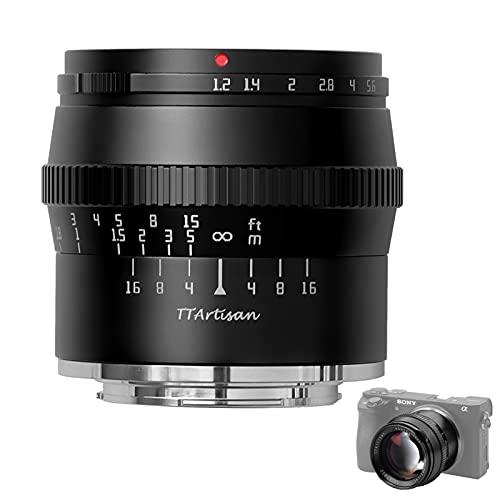 TTArtisan 50 mm F1.2 Lente APS-C MF Compatible con cámaras Sony con montura E A5000 A5100 A6000 A6100 A6300 A6400 A6500 A6600 NEX-3 NEX-3N NEX-3R NEX-5TNEX-5R NEX-5 NEX-5N NEX-7 NEX5C